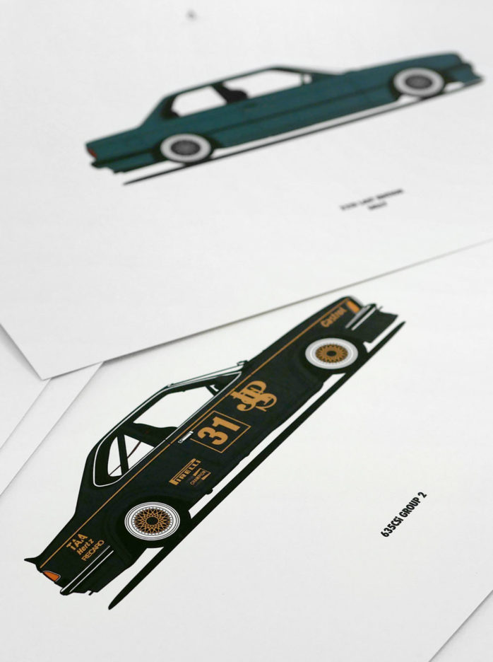 Diagonalt Custom BMW Poster